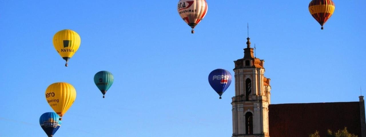 Над Вильнюсом на шаре